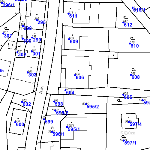 Katastrální mapa Parcela 606 na katastrálním území Bošovice