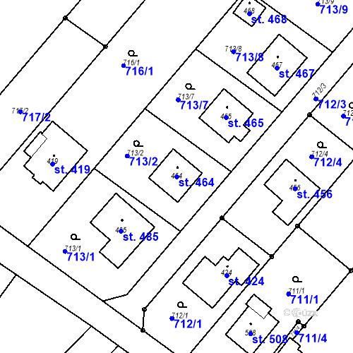 Katastrální mapa Parcela 464 na katastrálním území Cetkovice