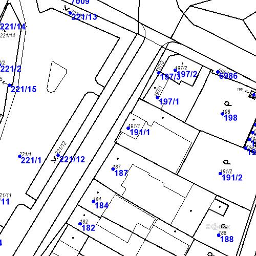 Katastrální mapa Parcela 191/1 na katastrálním území Boskovice