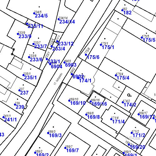 Katastrální mapa Parcela 174/1 na katastrálním území Boskovice