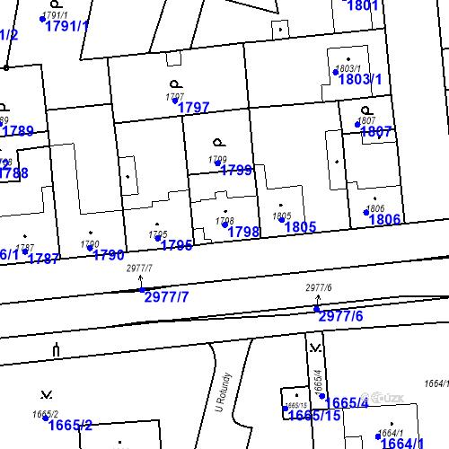 Katastrální mapa Parcela 1798 na katastrálním území Valtice