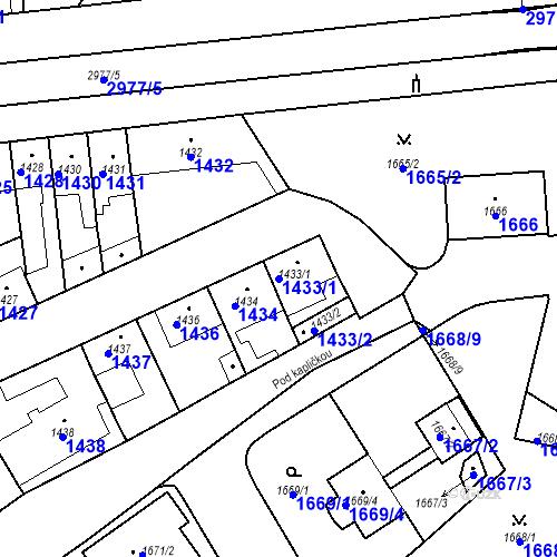 Katastrální mapa Parcela 1433/1 na katastrálním území Valtice