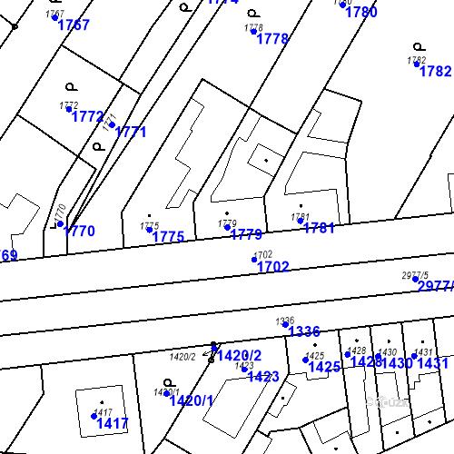 Katastrální mapa Parcela 1779 na katastrálním území Valtice