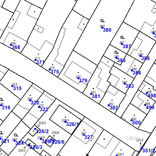 Katastrální mapa Parcela 379 na katastrálním území Valtice