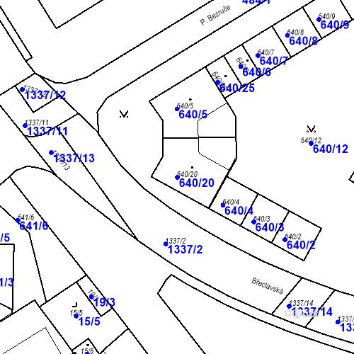 Katastrální mapa Parcela 640/20 na katastrálním území Valtice