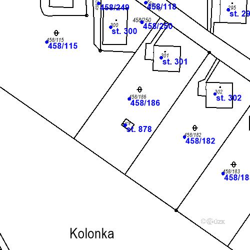 Katastrální mapa Parcela 878 na katastrálním území Adamov