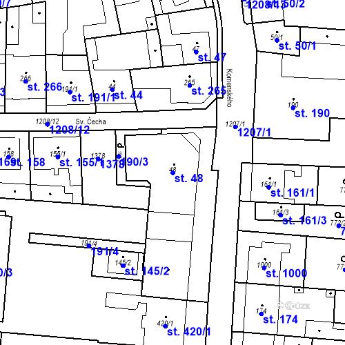 Katastrální mapa Parcela 48 na katastrálním území Bílovice nad Svitavou