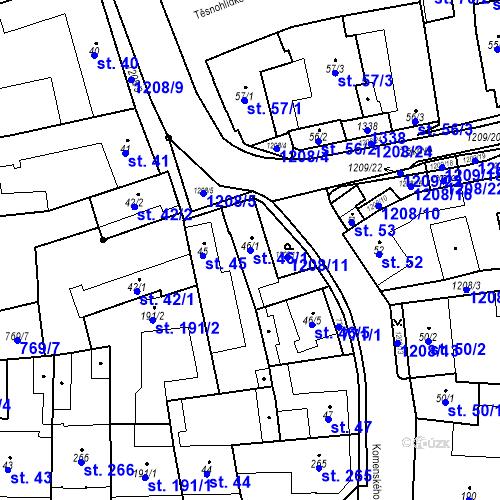 Katastrální mapa Parcela 46/1 na katastrálním území Bílovice nad Svitavou