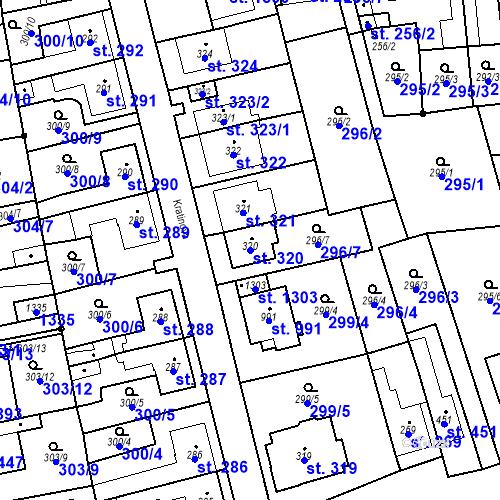Katastrální mapa Parcela 320 na katastrálním území Bílovice nad Svitavou
