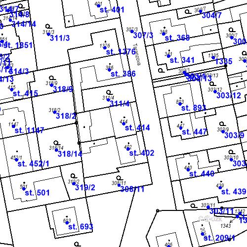 Katastrální mapa Parcela 414 na katastrálním území Bílovice nad Svitavou
