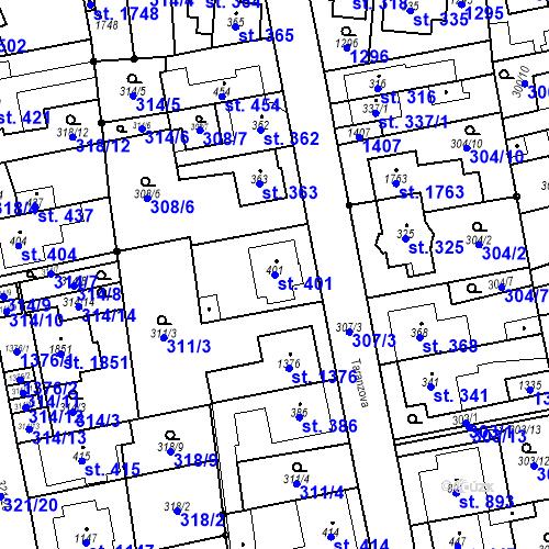 Katastrální mapa Parcela 401 na katastrálním území Bílovice nad Svitavou