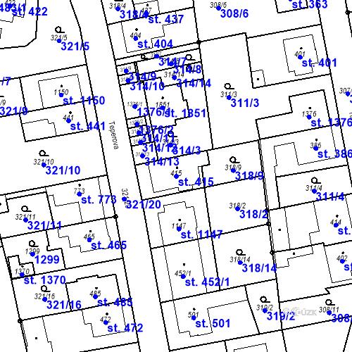Katastrální mapa Parcela 415 na katastrálním území Bílovice nad Svitavou