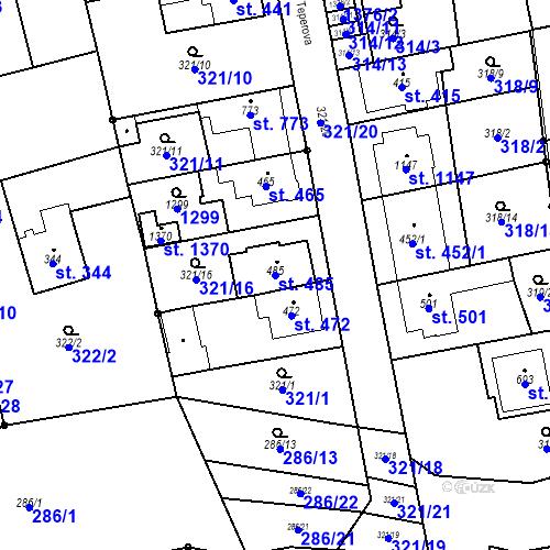 Katastrální mapa Parcela 485 na katastrálním území Bílovice nad Svitavou