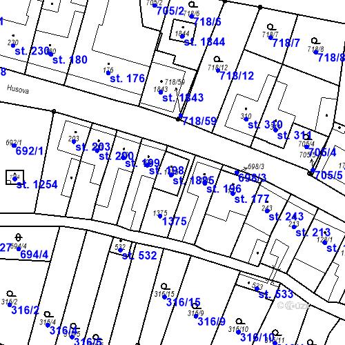 Katastrální mapa Parcela 195 na katastrálním území Bílovice nad Svitavou