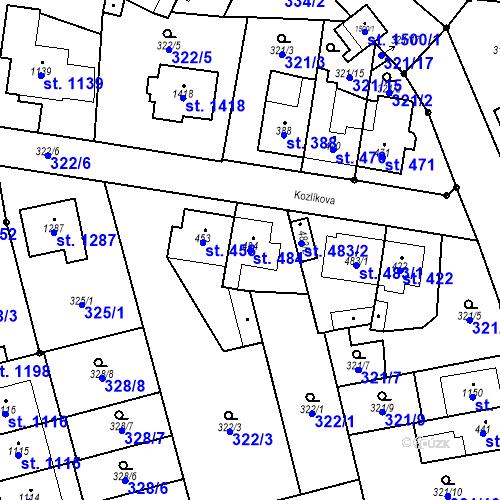 Katastrální mapa Parcela 484 na katastrálním území Bílovice nad Svitavou