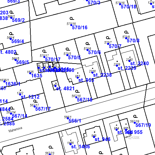 Katastrální mapa Parcela 953 na katastrálním území Blansko