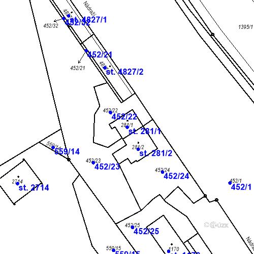 Katastrální mapa Parcela 281/1 na katastrálním území Blansko