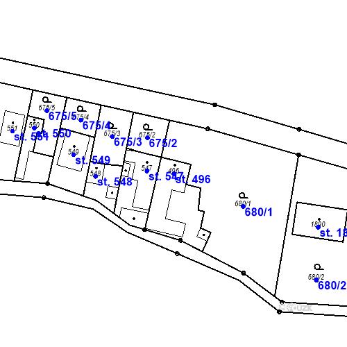Katastrální mapa Parcela 496 na katastrálním území Bílovice nad Svitavou