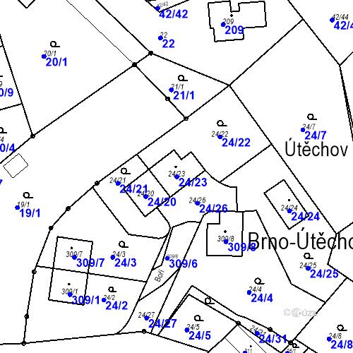 Katastrální mapa Parcela 24/23 na katastrálním území Útěchov u Brna