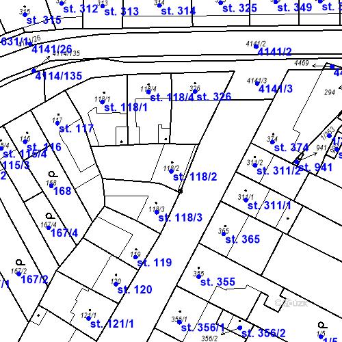 Katastrální mapa Parcela 118/2 na katastrálním území Velké Němčice