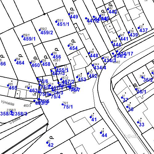 Katastrální mapa Parcela 453 na katastrálním území Holásky