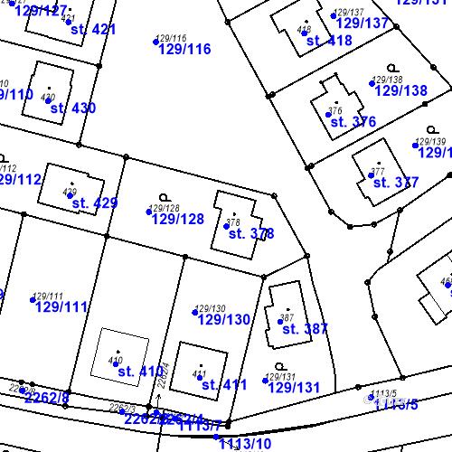 Katastrální mapa Parcela 378 na katastrálním území Třebětín u Letovic