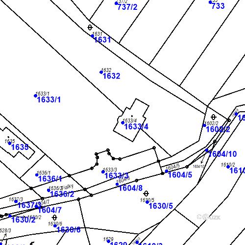 Katastrální mapa Parcela 1633/4 na katastrálním území Blučina
