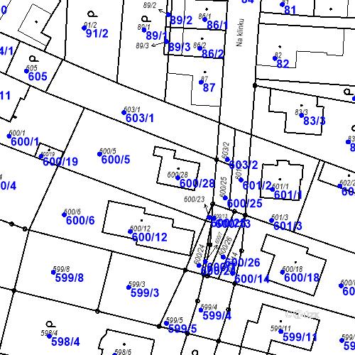 Katastrální mapa Parcela 600/28 na katastrálním území Soběšice