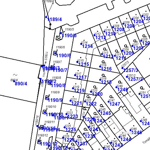 Katastrální mapa Parcela 1217 na katastrálním území Zábrdovice