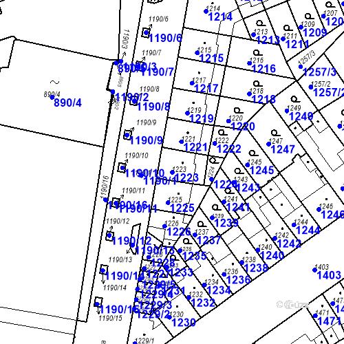 Katastrální mapa Parcela 1223 na katastrálním území Zábrdovice