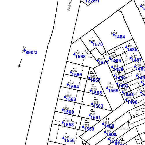 Katastrální mapa Parcela 1566 na katastrálním území Zábrdovice
