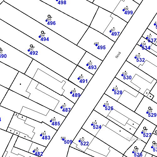 Katastrální mapa Parcela 491 na katastrálním území Blučina