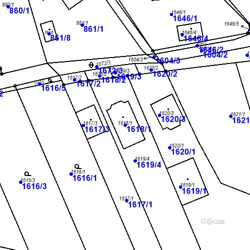 Katastrální mapa Parcela 1618/1 na katastrálním území Blučina