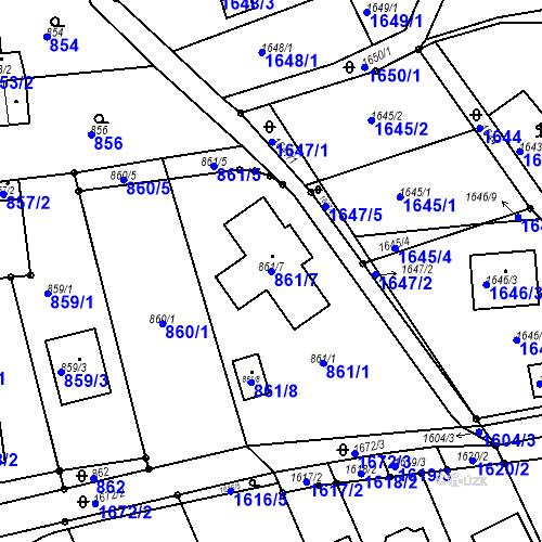 Katastrální mapa Parcela 861/7 na katastrálním území Blučina