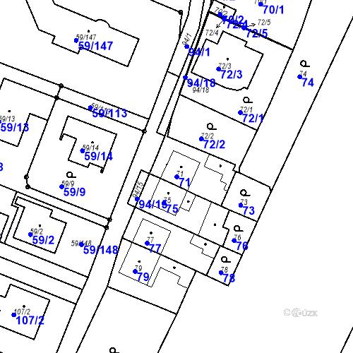 Katastrální mapa Parcela 71 na katastrálním území Ořešín