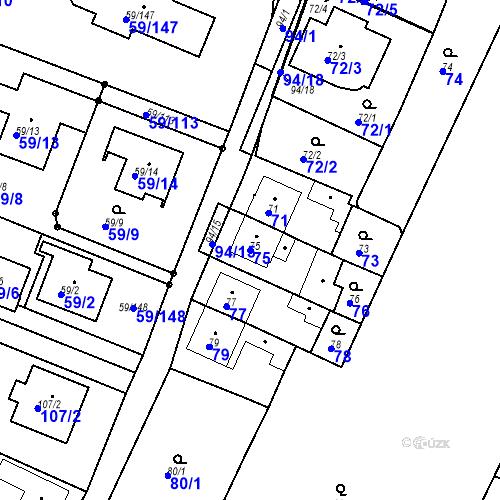 Katastrální mapa Parcela 75 na katastrálním území Ořešín