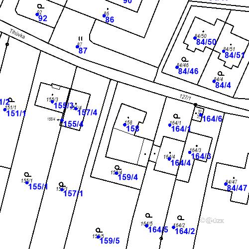 Katastrální mapa Parcela 158 na katastrálním území Ořešín
