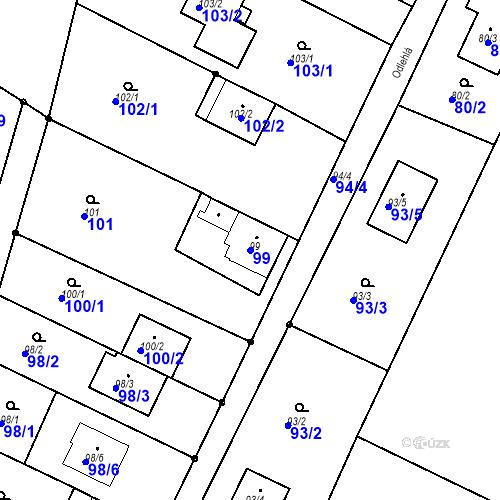 Katastrální mapa Parcela 99 na katastrálním území Ořešín