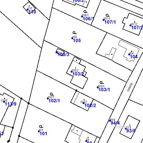 Katastrální mapa Parcela 103/2 na katastrálním území Ořešín