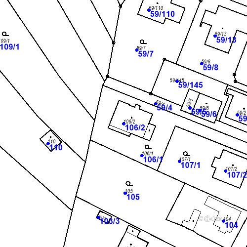 Katastrální mapa Parcela 106/2 na katastrálním území Ořešín