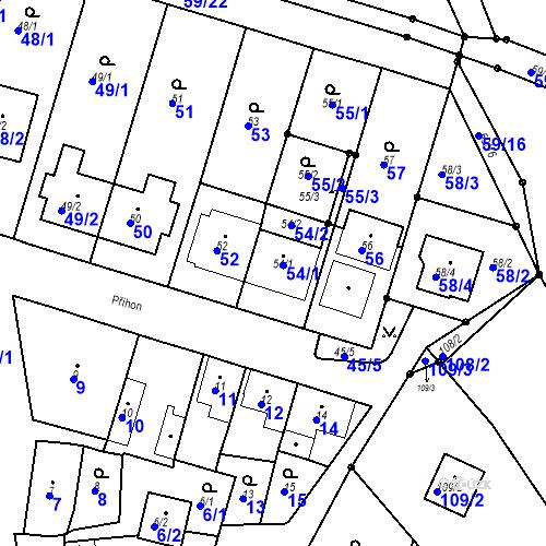 Katastrální mapa Parcela 54 na katastrálním území Ořešín