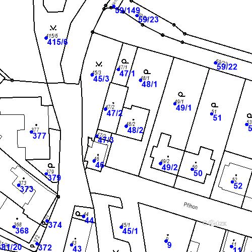 Katastrální mapa Parcela 48/2 na katastrálním území Ořešín