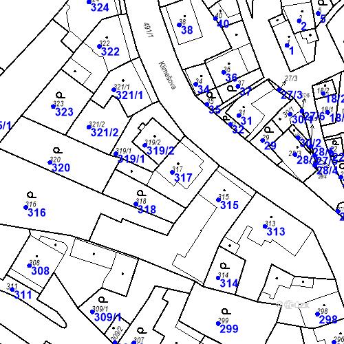 Katastrální mapa Parcela 317 na katastrálním území Ořešín