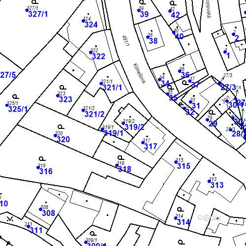Katastrální mapa Parcela 319/2 na katastrálním území Ořešín