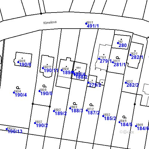 Katastrální mapa Parcela 188/2 na katastrálním území Ořešín
