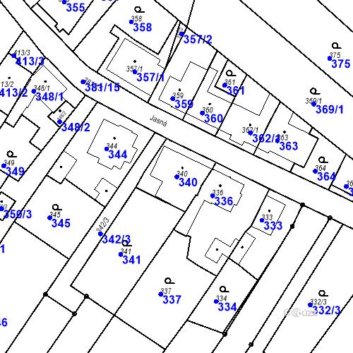 Katastrální mapa Parcela 340 na katastrálním území Ořešín