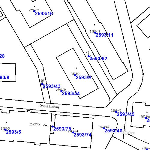 Katastrální mapa Parcela 2593/9 na katastrálním území Žamberk