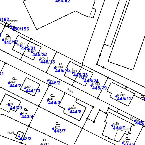 Katastrální mapa Parcela 445/23 na katastrálním území Modřice