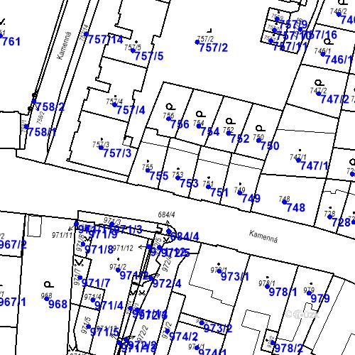 Katastrální mapa Parcela 753 na katastrálním území Štýřice
