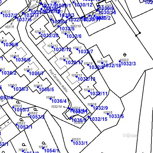 Katastrální mapa Parcela 1032/13 na katastrálním území Štýřice